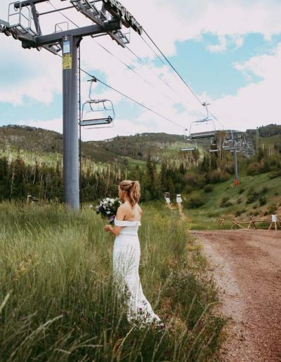 bride under chairlift at steamboat resort