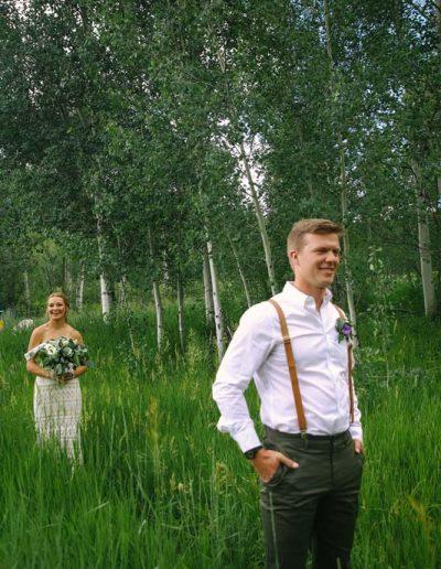 happy bride and groom outdoor wedding