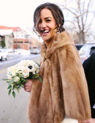 beautiful bride wintertime colorado
