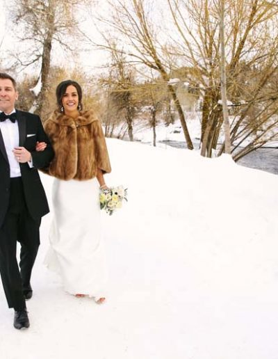 winter wedding couple steamboat springs colorado