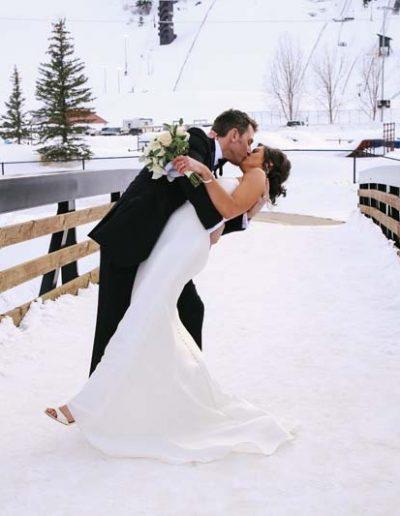 couple outdoors winter wedding