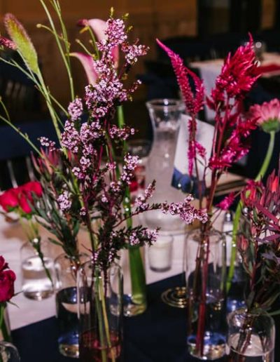 flowers on tables at wedding