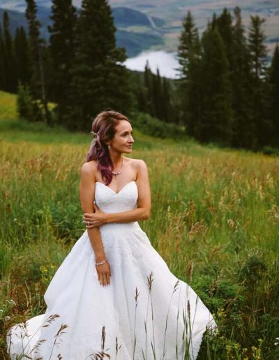 bride outdoors at steamboat springs resort