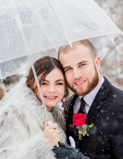 winter elopement snow