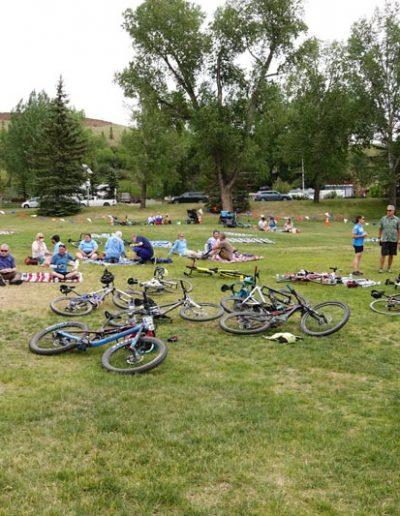 Bikes laid down in grassy field.